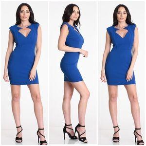 Deep V-neck Sleeveless Dress, Blue